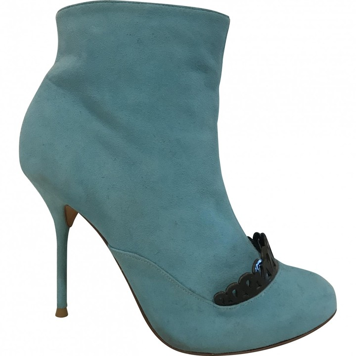 Sophia Webster Turquoise Suede Ankle