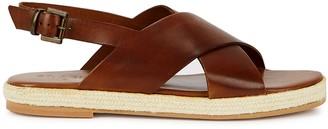 ST. AGNI Basque Brown Leather Espadrille Sandals