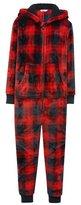 M&Co Check hooded fleece onesie