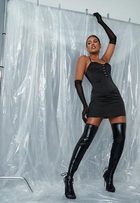 Missguided Black Satin Cross Front Mini Dress