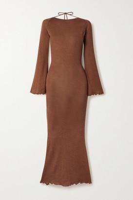 Savannah Morrow The Label + Net Sustain Harmony Open-back Silk And Organic Cotton-blend Midi Dress - Light brown