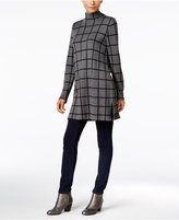 Style&Co. Style & Co. Windowpane Mock-Neck Tunic Sweater, Only at Macy's