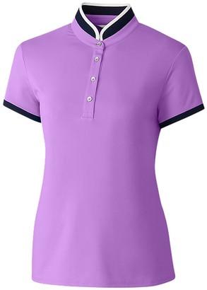 Cutter & Buck Women's Moisture Wicking UPF 50+ Mock Neck Cap Sleeve Polo Shirt