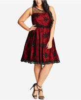 City Chic Trendy Plus Size Embroidered Illusion Dress
