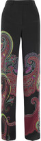 Etro Paisley-print Stretch-silk Wide-leg Pants - Black
