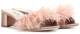 Miu Miu Feather-trimmed slip-on sandals