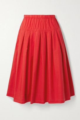 Alex Mill Pleated Cotton-poplin Midi Skirt - Red