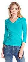 Three Dots Women's 3/4 Slv Deep V-Neck