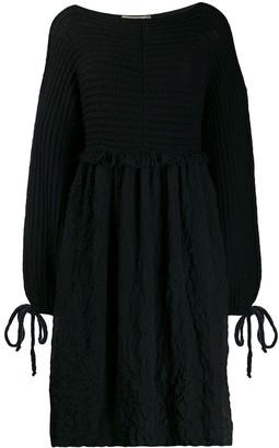 Maison Flaneur Long-Sleeve Flared Dress