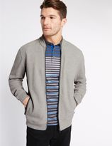 Marks and Spencer Pure Cotton Textured Baseball Sweatshirt