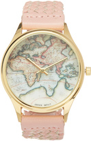 Geneva Platinum Pink Braided Map Dial Watch
