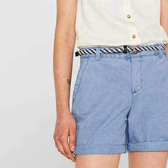 Esprit Plain Cotton Chino Shorts with Regular Waist