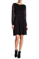 Eliza J Lace Sleeve Knit Dress