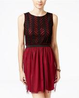 Speechless Juniors' Chevron Lace Tulle Dress