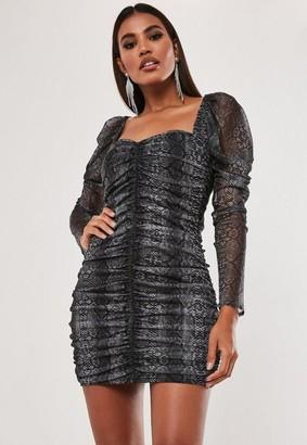 Missguided Grey Snake Print Mesh Ruched Mini Dress