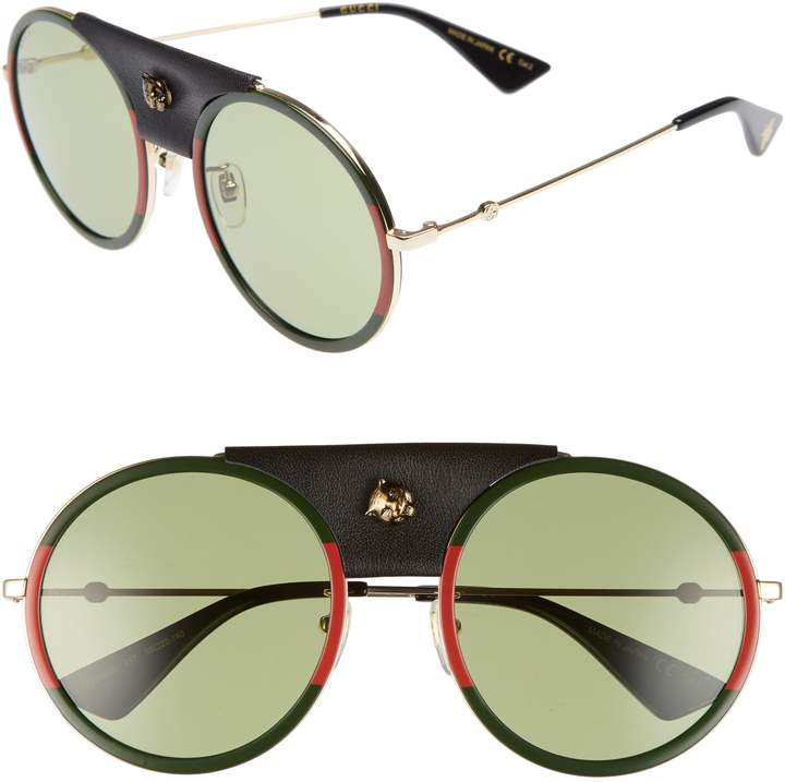 Gucci Web Block 56mm Round Sunglasses with Leather Wrap