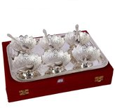 Radha Krishna Shop German (GS) Set of 6 Lotus Shape Bowls with 6 Spoons and Tray