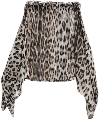 Roberto Cavalli Draped Leopard-print Cotton And Silk-blend Voile Mini Skirt