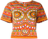 Moschino mirror embroidered top - women - Cotton/other fibers - 40