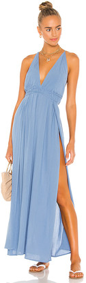 Indah River Solid Triangle Plunge Dress