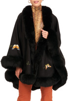 Gorski Cashmere Cape with Butterfly Embroidery & Fur