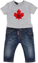 DSQUARED2 Cotton Jersey T-Shirt W/ Stretch Jeans
