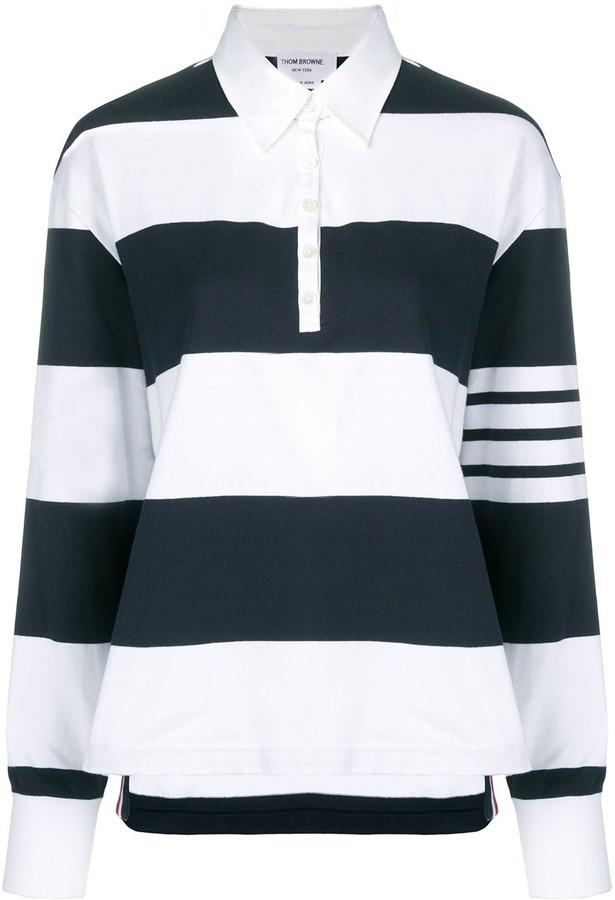 Navy & White 4 Bar Oversized Long Sleeve Polo