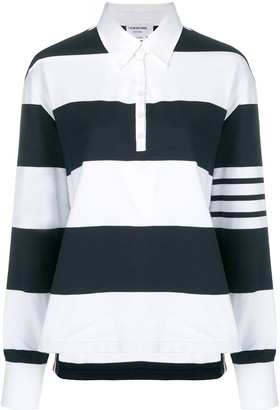 Thom Browne 4-Bar Navy Oversized Rugby Polo