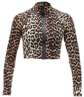 Ganni Zip-front Leopard-print Stretch-jersey Cropped Top - Womens - Leopard