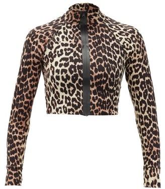 Ganni Zip-front Leopard-print Stretch-jersey Rash Guard - Leopard