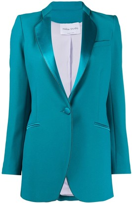 Hebe Studio Satin-Trimmed Fitted Blazer