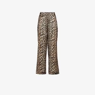 Ganni Silk Leopard Print Trousers