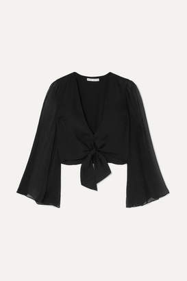 Alice + Olivia Prija Tie-front Silk Crepe De Chine Blouse - Black