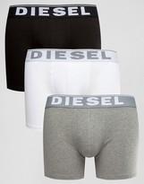 Diesel Logo Waistband Trunks In Longer Length 3 Pack