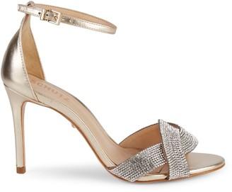 Schutz Jolita Embellished Metallic Ankle-Strap Sandals
