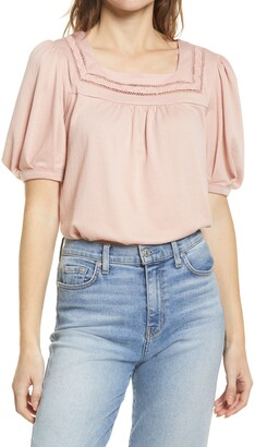 Everleigh Square Neck Lace Knit Top