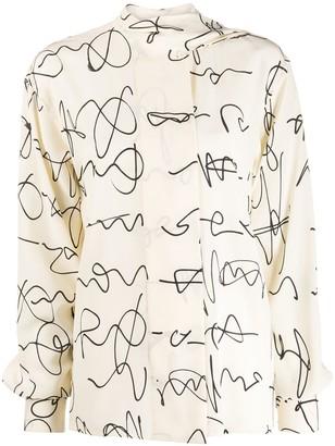 Victoria Beckham Signature Print Silk Blouse