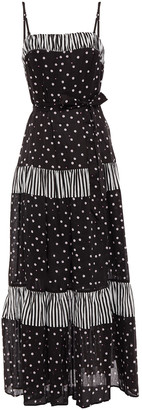 Kate Spade Gathered Printed Ramie And Cotton-blend Maxi Dress