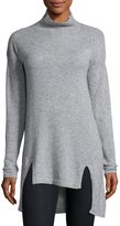 Cullen Cashmere Mock-Neck Tunic, Heather Gray