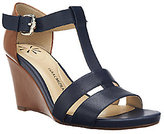 Isaac Mizrahi Live! Leather Color-Block Wedge Sandals
