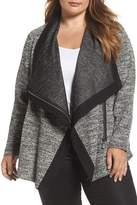 Vince Camuto Tweed & Ponte Asymmetrical Jacket (Plus Size)