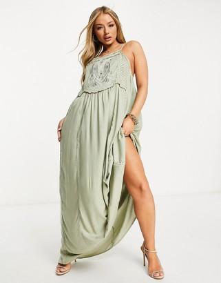 ASOS DESIGN applique bib detail maxi beach dress in khaki