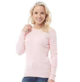 Crew Clothing Womens Cotton Cable Crew Neck Jumper Pale Pink