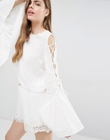Alice McCall A Love Like That Embroidery Cold Shoulder Detail Top