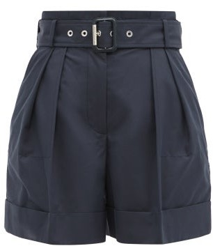 Alexander McQueen High-rise Belted Cotton-twill Shorts - Navy