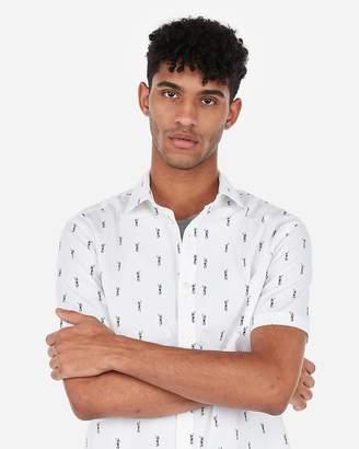 Express Classic Hawaiian Hula Print Short Sleeve Shirt