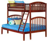 Atlantic Richland Walnut Hardwood Twin Over Full Bunk Bed
