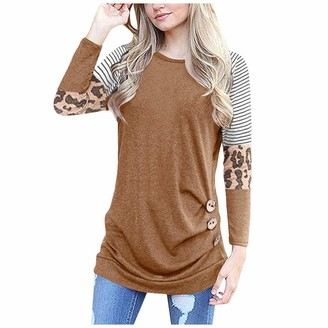KPILP Ladies Casual Tops Long Sleeve Jumper Round Neck Striped Leopard Print Women's Blouse Loose fit Summer Spring Fashion Patchwork Polo T Shirt Tunic Tee Jacket Button up(Brown 3XL)