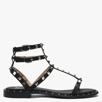 Df By Daniel Cuboid Black Studded Gladiator Sandals
