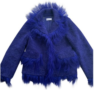Saks Potts Blue Leather Jacket for Women